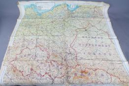 Rare WW2 Silk Escape Map of Europe- Marked 43 E and F. Double-sided.