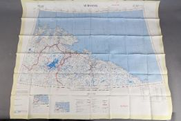 Cold War Fabric Escape Map of Tromso and Murmansk,1959- Published by the D Survey,