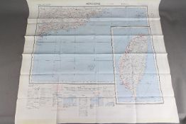 Cold War Fabric Survival Map of Canton and Hong Kong, 1957- Double-sided,