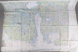Cold War USAF Operational Navigational Fabric Chart - ONC D-3 undated c.