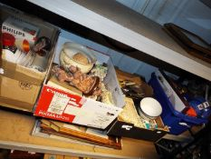 Job Lot - five boxes to include ceramics, glass marbles, books, plated cutlery,