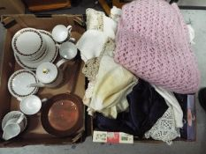 A mixed lot to include a Royal Tuscan tea set, vintage linen,