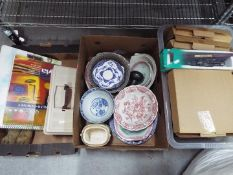 Three boxes to include collector plates, ceramic tableware artist paints, brushes, pads,