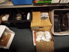 Job Lot - five boxes to include hand bags, CD's, DVDs, a large quantity of stamps,