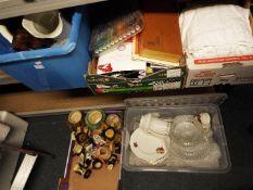 Job Lot - five boxes to include ceramic toby jugs, artist set, vintage linen, postcards,