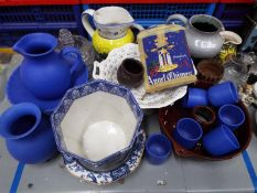 A collection of ceramics, studio pottery, glassware and similar.