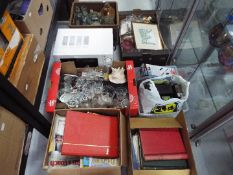 Job Lot - six boxes to include glass and stoneware vintage bottles, glassware, ceramics,