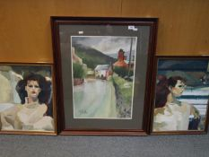 Two framed oils on canvas, portraits of a lady and a framed and glazed street scene,
