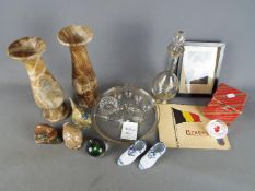 A mixed lot to include decanter and glasses, onyx vases, paperweights, Napoleon print,