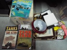A mixed lot to include military books, magazines, playing cards, jewellery,