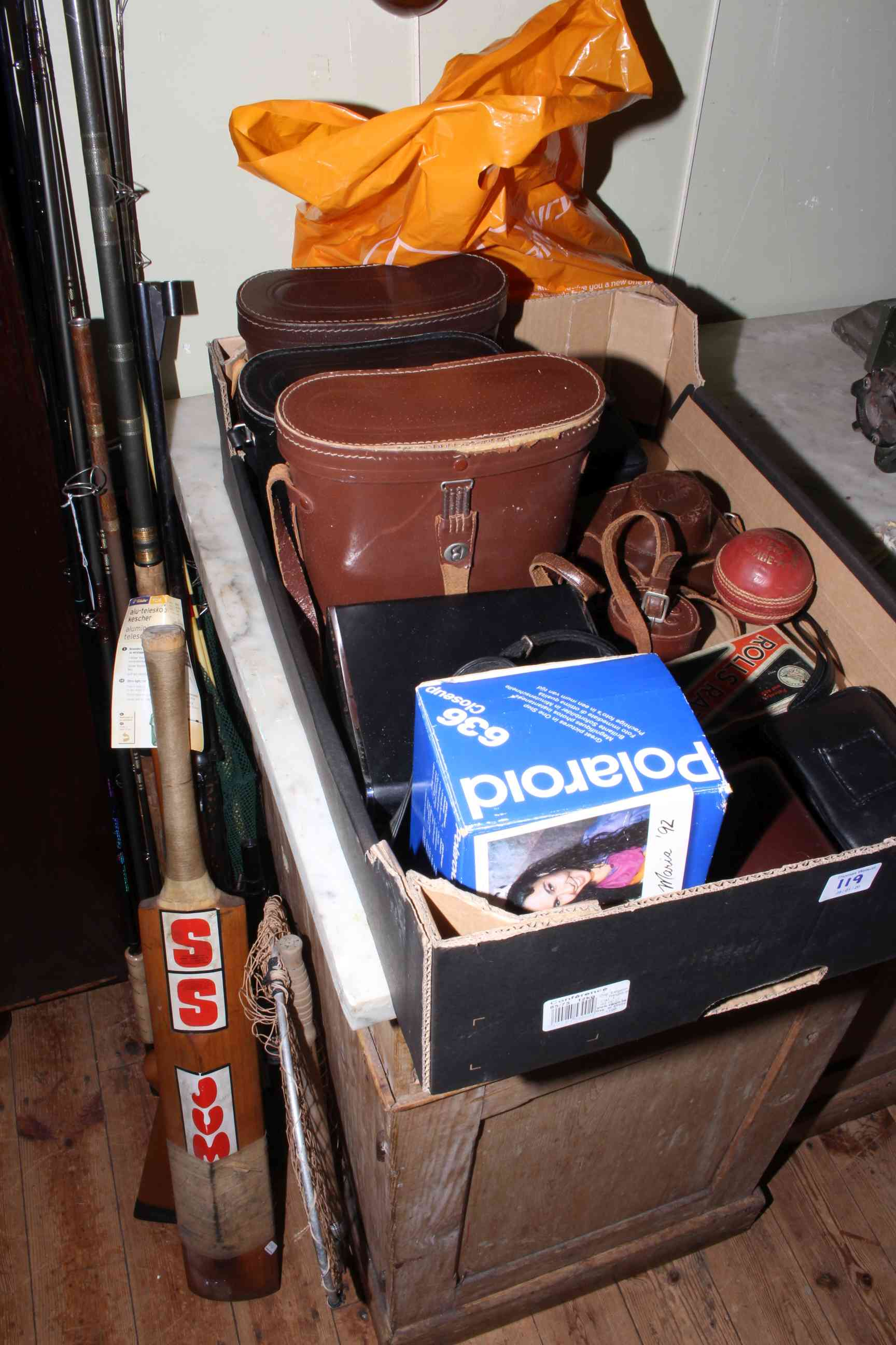 Lot 119 - Fishing rods, landing nets, reels, floats, binoculars, cameras, shooting stick.