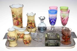 Four Aynsley Orchard Gold vases and cream jug and various glass.