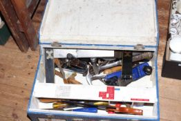 Box of tools including planes, saw, t-square, etc.