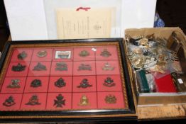 Collection of military badges, staybrite, belt, trinket box etc including large letter,