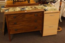 Edwardian three drawer chest and light wood finish two drawer filing cabinet (2).