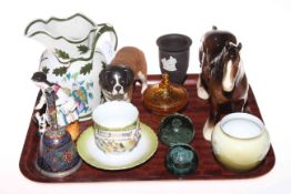 Beswick shire horse and St. Bernard dog, two Victorian glass dumps, figure, jug, Wedgwood vase, etc.