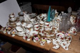 Collection of Royal Albert Old Country Roses including teapots, clock, etc,