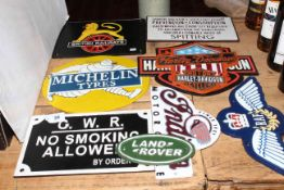 Nine cast iron transportation and motoring interest signs.