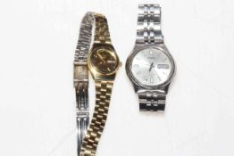 Two Seiko ladies and gents wristwatches.