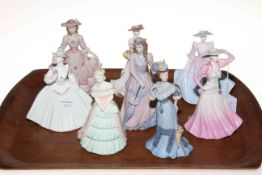 Collection of eight Coalport ladies.