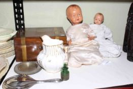 Mahogany writing box, smelling salts bottle, 1846 jug, two dolls and metalwares.