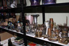 Shelf collection of stoneware, metalwares including teapot, milk churn, door stopper,