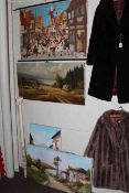 Five unframed oils on canvas and Continental coloured poster (6).