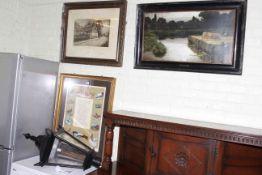 Three framed prints and vintage style lantern.