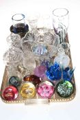 Collection of glassware including paperweights, scent bottle, vases, bowls, etc.