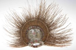 Samoan fan with sparse painted decoration, approximately 50cm across.