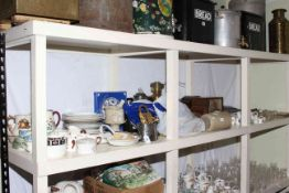 Aynsley and Wedgwood coffee cups and saucers, two mantel clocks, oil lamps, stone bottle,