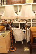 Brass corinthian column standard lamp and silk shade,