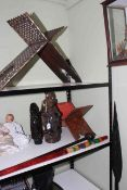 Indian folding stand, Asian carved wood figures, parrot, coloured stick, paddle, etc.