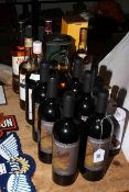 Seventeen bottles of spirits and red wine including The Macallan single malt, Bushmills single malt,