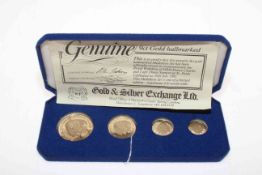 Four 9 carat gold coin set for wedding of HRH Prince Charles and Lady Diana Spencer,