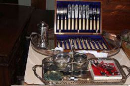 Cased set of fish knives and forks, plated gallery trays, etc.