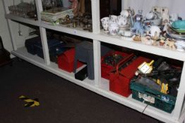 Large collection of tools, tool boxes, garden tools, flute, etc.