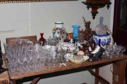 Collection of glass, ceramics and wood wares including carved reindeers by Josef Gluck of Biberach,