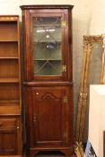 Victorian oak astragal glazed door top standing corner cupboard.