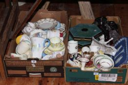 Two tray boxes of ceramics including Shelley, Royal Doulton, James Peters Worcester, Wedgwood, etc.