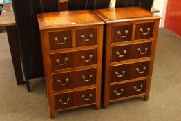 Pair slim mahogany five drawer chests.