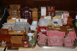 Two trays of dolls furniture and accessories.