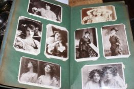 Edwardian postcard album housing theatrical actresses and actors.