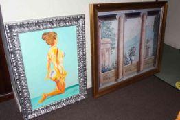 Two large framed prints.