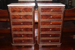 Pair Continental marble topped miniature six drawer chests, 46cm by 27cm.