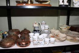 Staffordshire crab and lobster decorated dinner wares, Grindley Hamilton including tureens,
