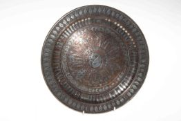 Antique Chinese silver inlaid bronze dish, 28cm diameter.