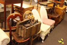 Four bedroom chairs, three nests of tables, three occasional tables,