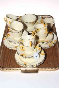 Crown Ducal 'Sunburst' pattern part tea service, registered no. 780960 (36 pieces).