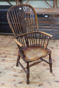 19th Century Windsor pierced splat back elbow chair.